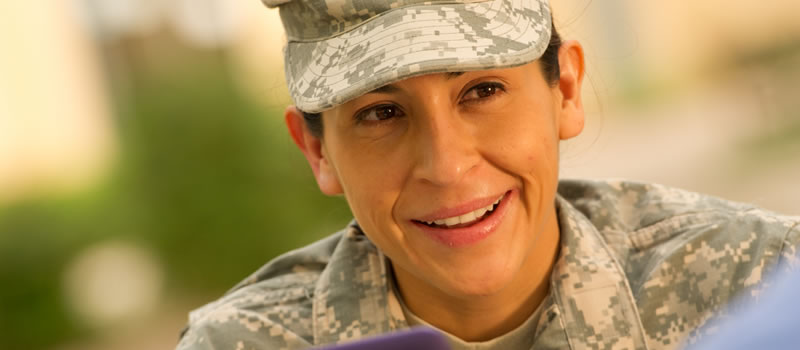 Female military student smiling